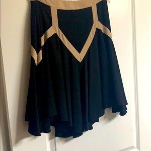 Black silky lined skirt